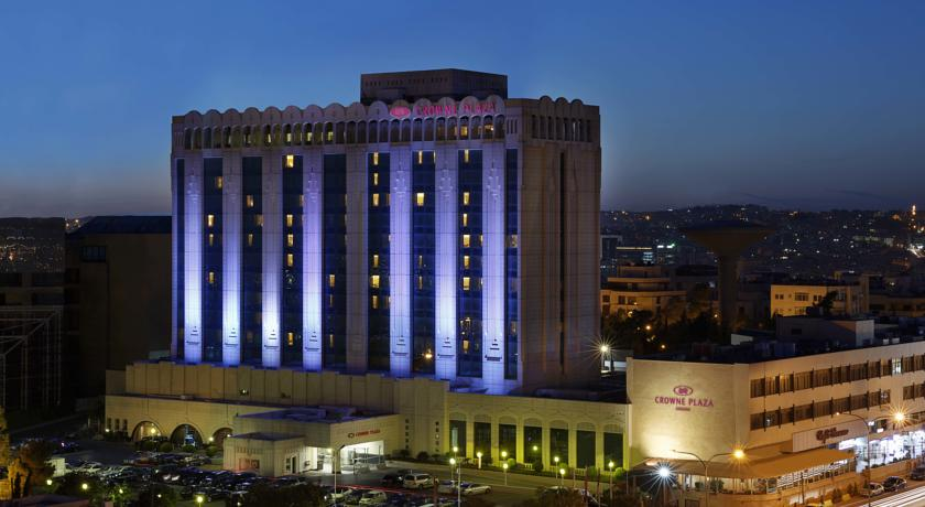 Crowne Plaza Amman facade night Jordan